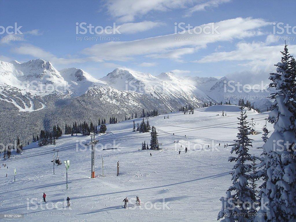 View from Whistler Mountain to Blackcomb Mountain stock photo