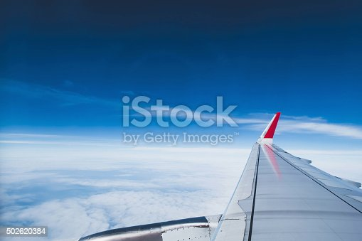 istock View from window in airplane on the sky 502620384
