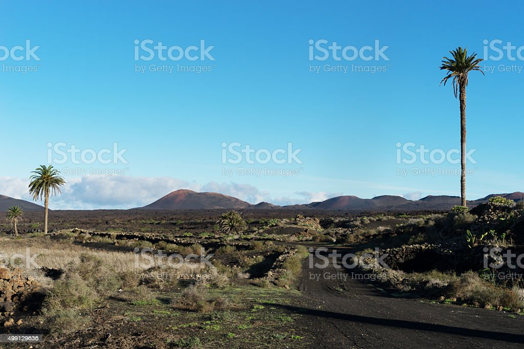 View from Yaiza towards Timanfaya stock photo