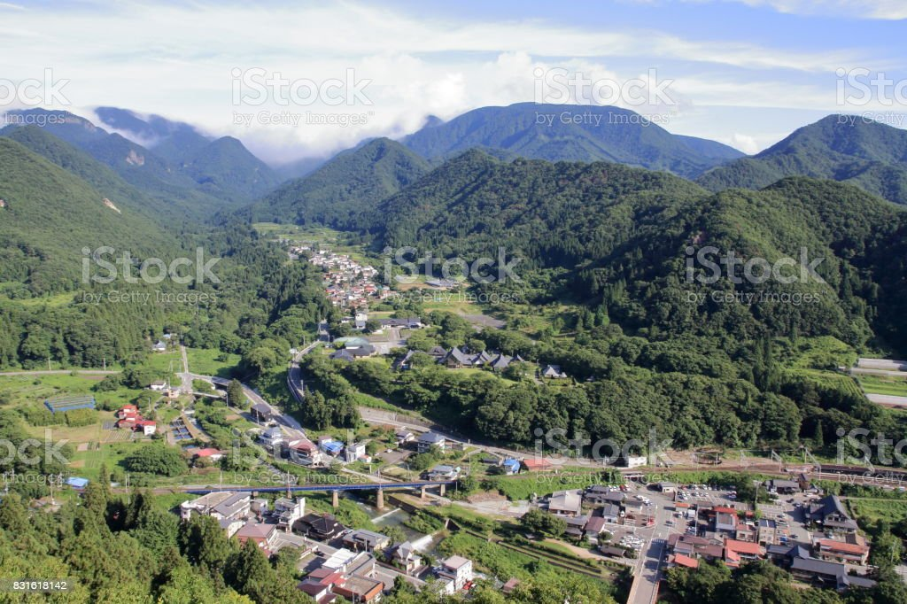 view from Yamadera in Yamagata, Japan stock photo
