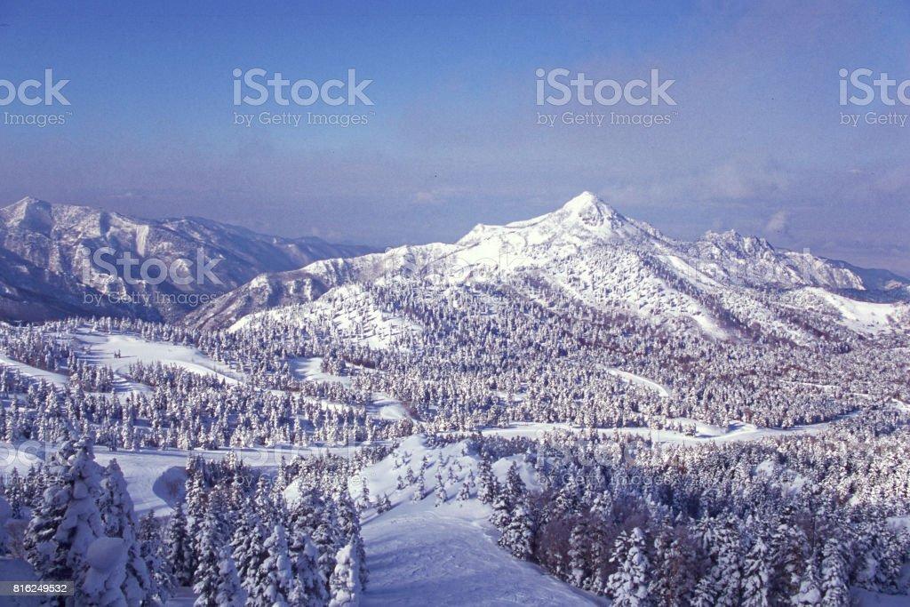 View from Yokoteyama in winter stock photo