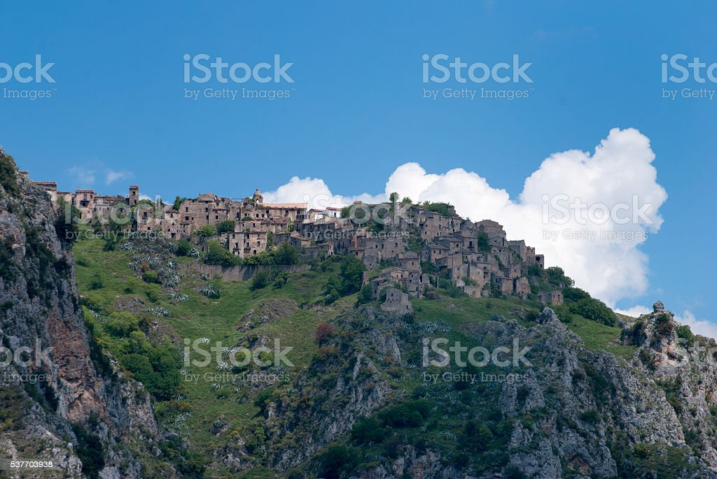 View ghost town Romagnano al Monte, Italy stock photo