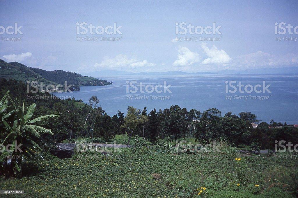 View hillside fields over coastline Lake Kivu Gisenyi Rwanda Africa stock photo