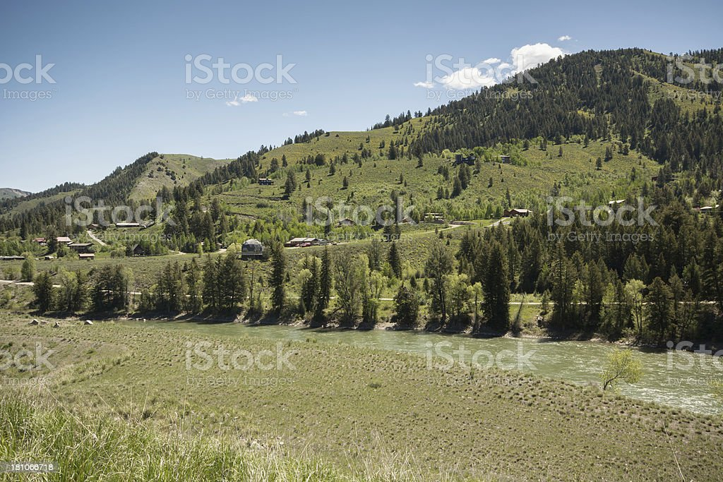 View Homes above the Snake River near Swan Valley Idaho royalty-free stock photo