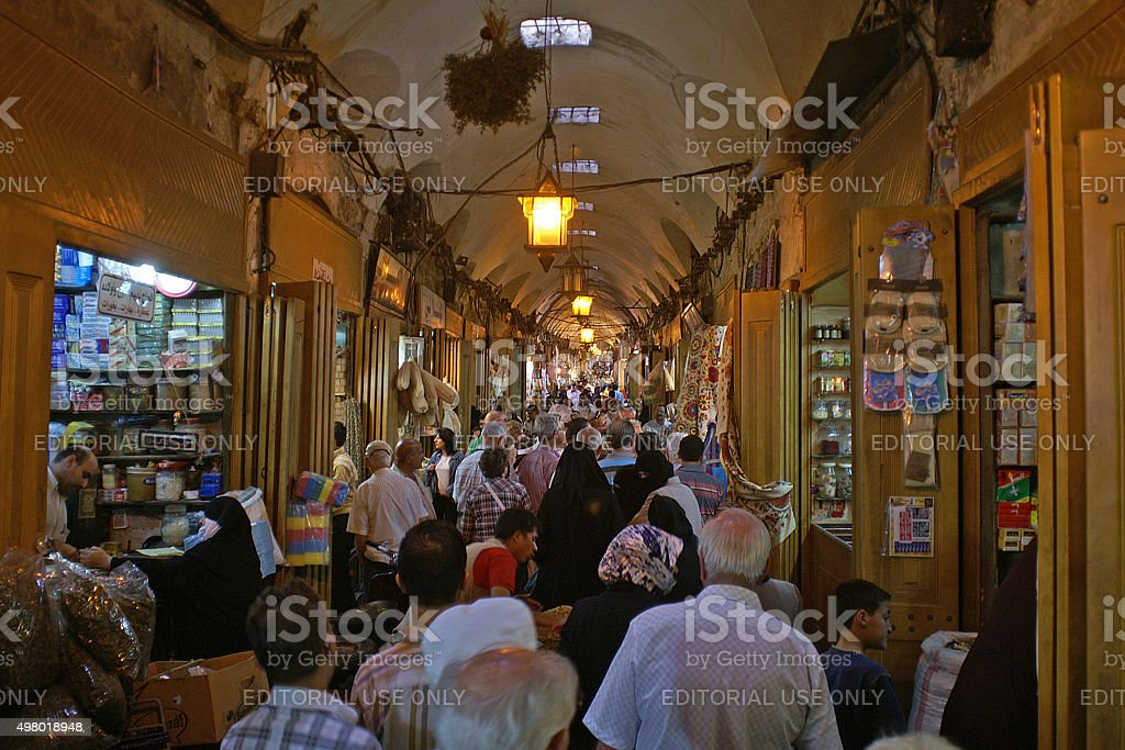 View in a part of the busy Souk of Aleppo in Syria stock photo