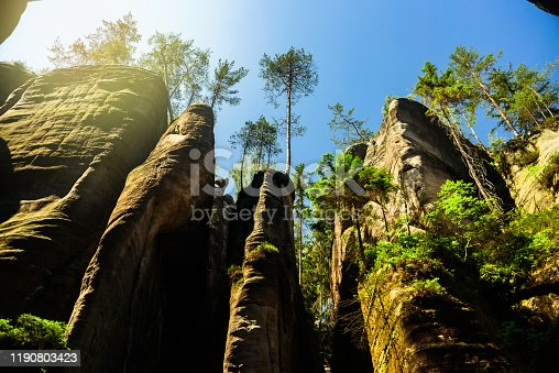 Remains of rock city in Adrspach Rocks, part of Adrspach-Teplice landscape park in Czech Republic