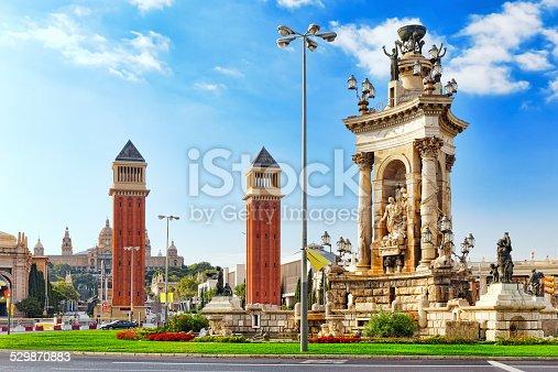 istock View in Barcelona on Placa De Espanya. 529870883