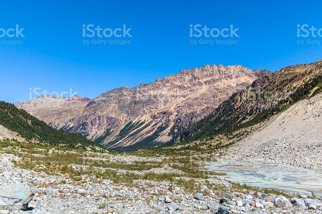 View in Morteratsch Valley stock photo