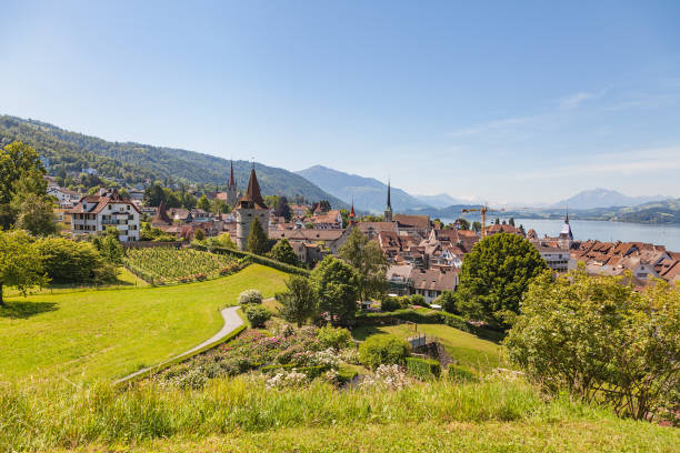 View in the city of Zug in Switzerland View of the city of Zug in Switzerland in summertime. zug stock pictures, royalty-free photos & images