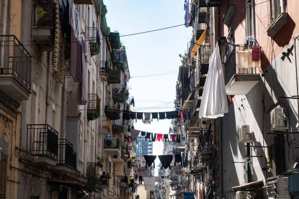 View in the nawrrow streets of Naples stock photo