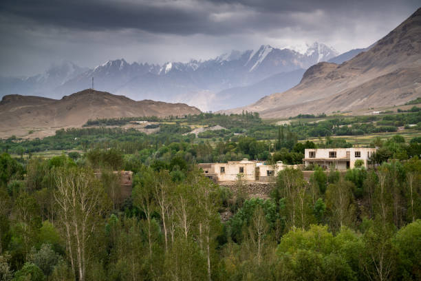 View in the village in Wakhan Corridor in Afghanistan stock photo