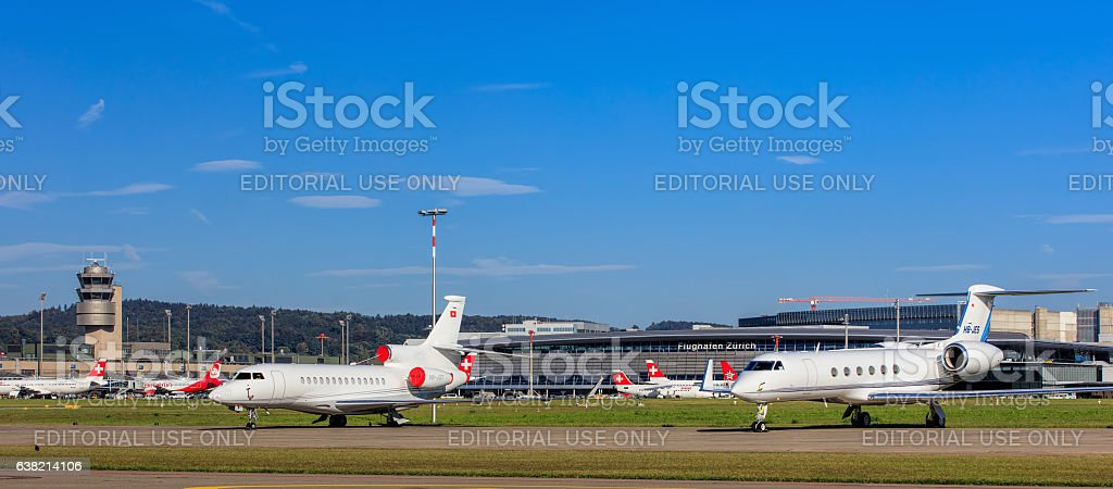 View in the Zurich Airport stock photo