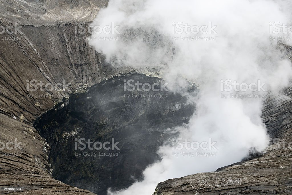 View inside the active volcano crater at Mt. Bromo, Indonesia. stock photo