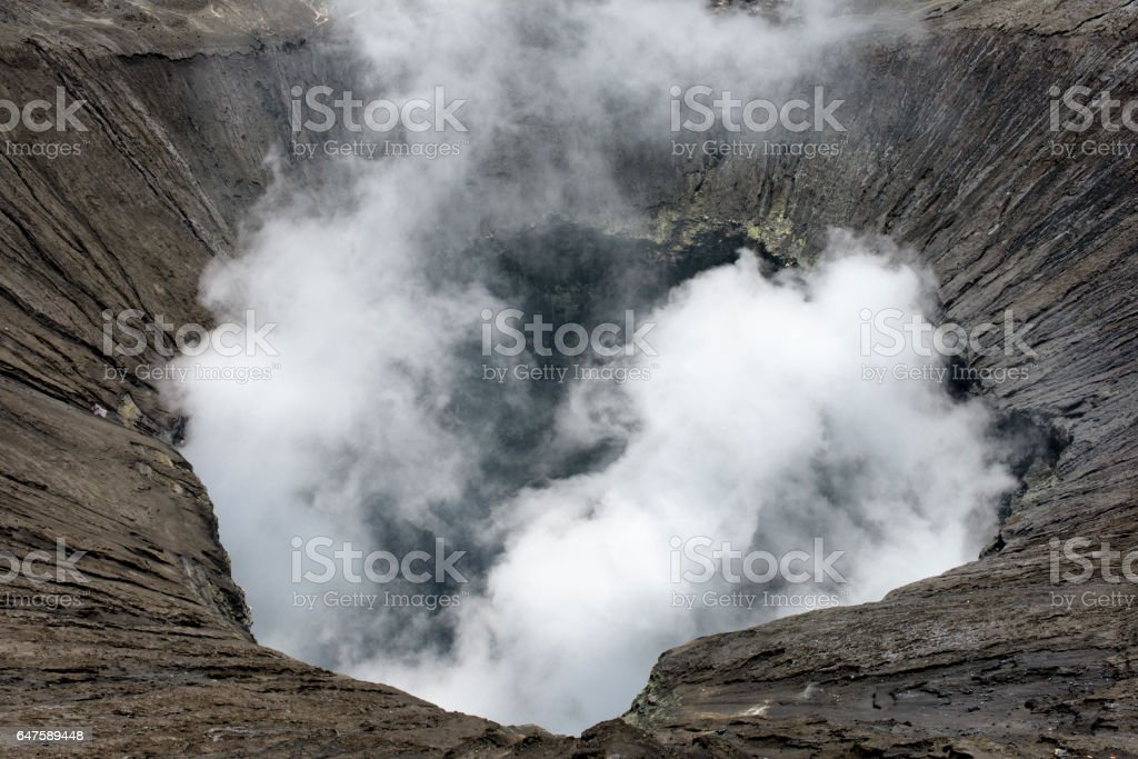 View inside the active volcano crater at Mt. Bromo, Tengger Semeru National Park, Indonesia stock photo