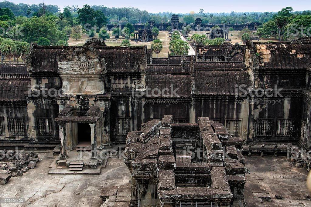 View Inside the Angkor Wat, Cambodia stock photo