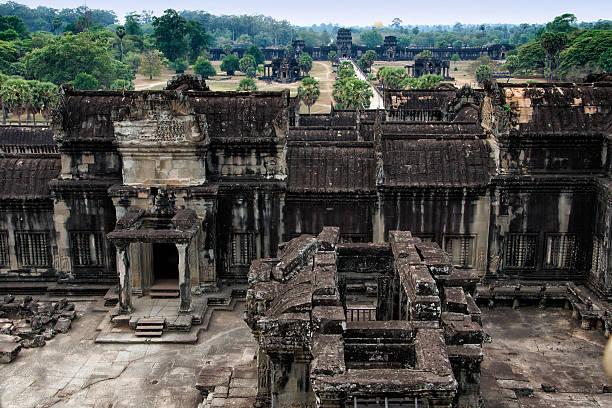 View Inside the Angkor Wat, Cambodia stock photo