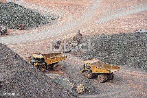 dumper trucks parking in a surface mine. mining industry.