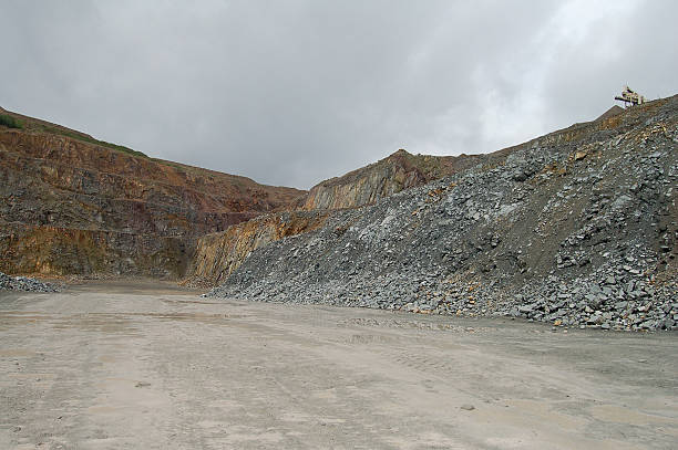 view into a quarry. mining industry stock photo
