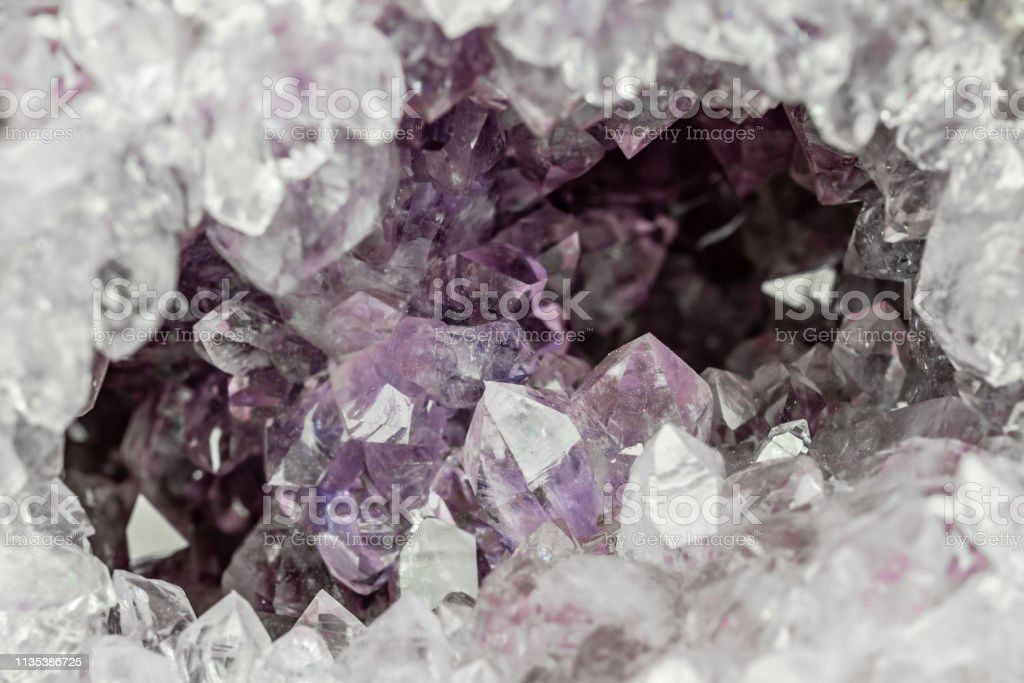 view into an amethyst geode stock photo