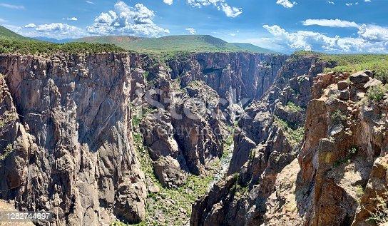 View into the depth of Black Canyon of Gunnison river in Colorado, USA.