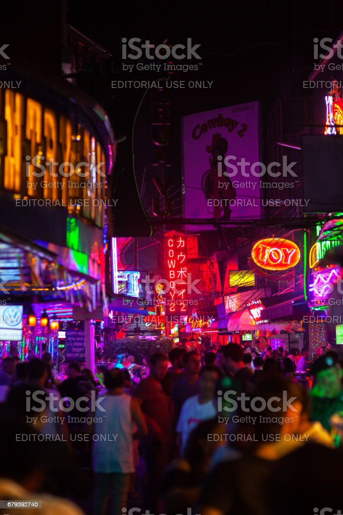 View into redlight street Soi Cowboy stock photo