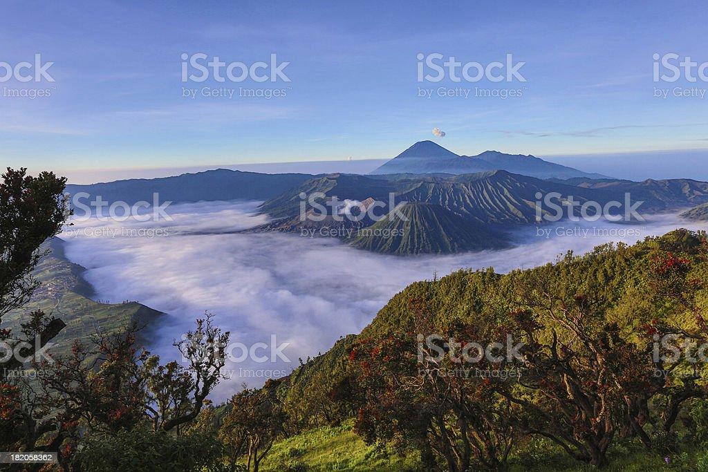 View into the caldera of Bromo volcano Java Indonesia royalty-free stock photo