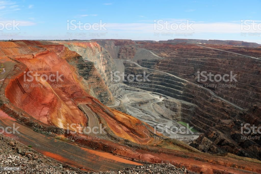 View into the interior of the Gold mine Super Pit, Western Australia stock photo