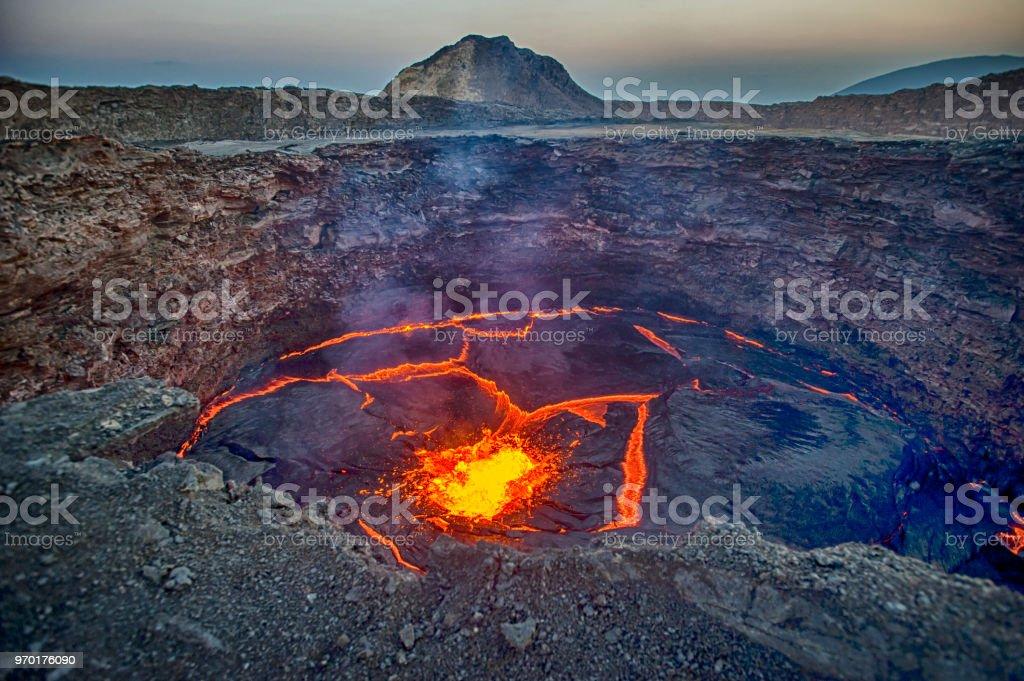 Ansicht der lava lake of Erta Ale Vulkan, Äthiopien – Foto