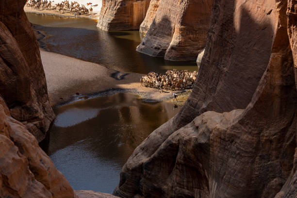 View into the legendary Guelta d'Archeï, Ennedi massif, Sahara, Chad stock photo