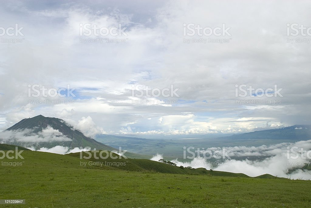 View into the Massai steppe with Ol Doinyo Lengai royalty-free stock photo