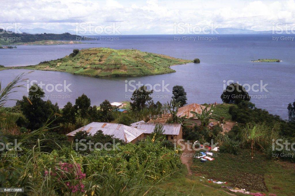 View Lake Kivu and Islands shore near Gisenyi Rwanda Africa stock photo