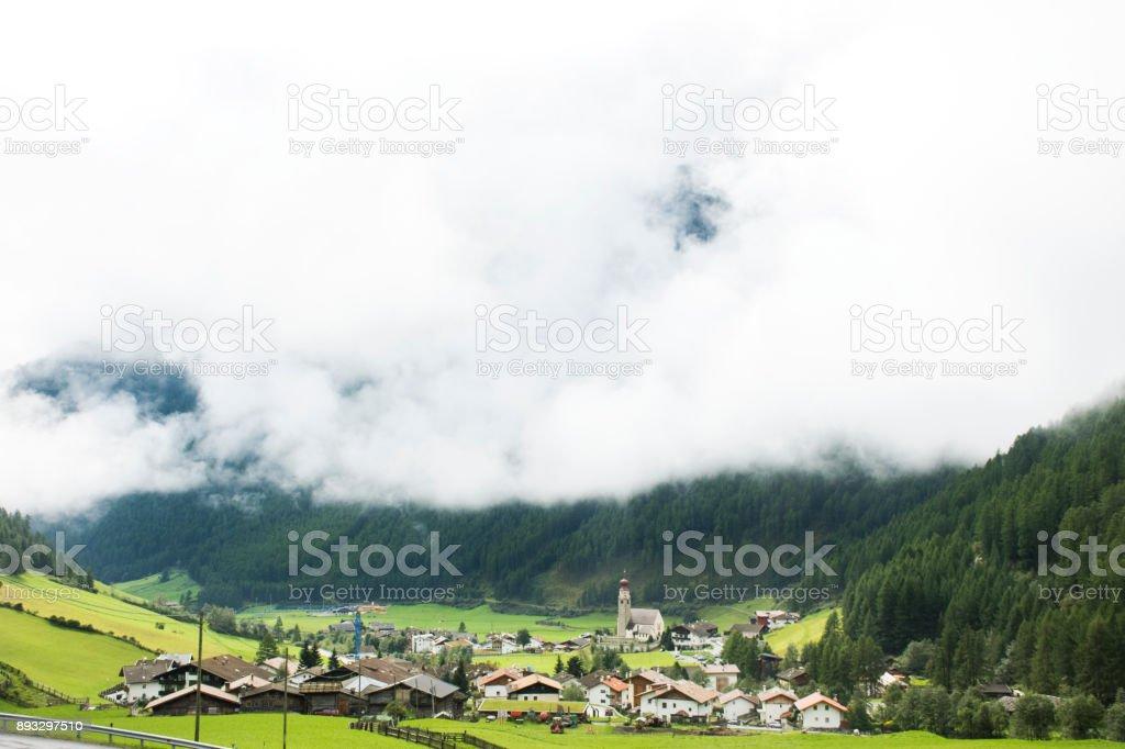 View landscape and cityscape of Niederthai village stock photo