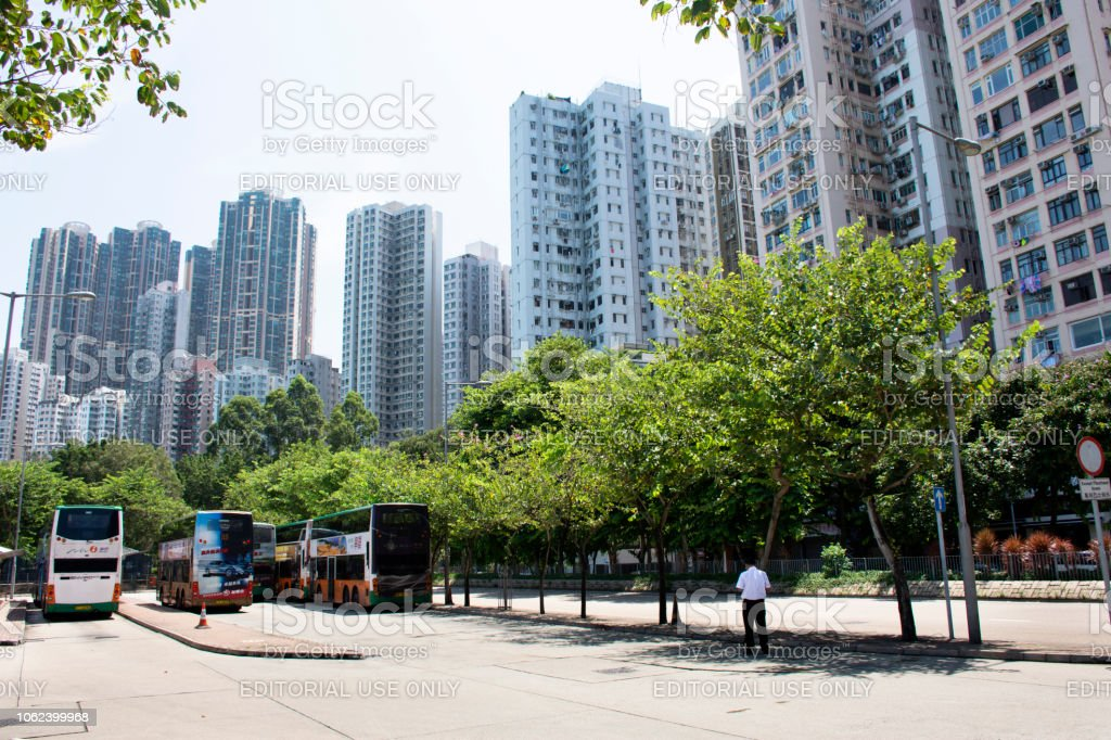 View landscape and cityscape with high building of Kennedy Town in Hong Kong, China View landscape and cityscape with high building of Kennedy Town on September 4, 2018 in Hong Kong, China Apartment Stock Photo