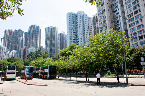 View Landscape And Cityscape With High Building Of Kennedy Town In Hong Kong China Stock Photo - Download Image Now