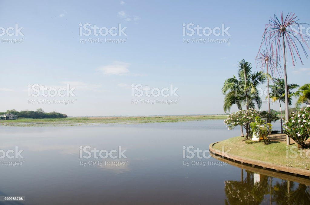 View landscape of Bueng Si Fai is lake in Phichit stock photo