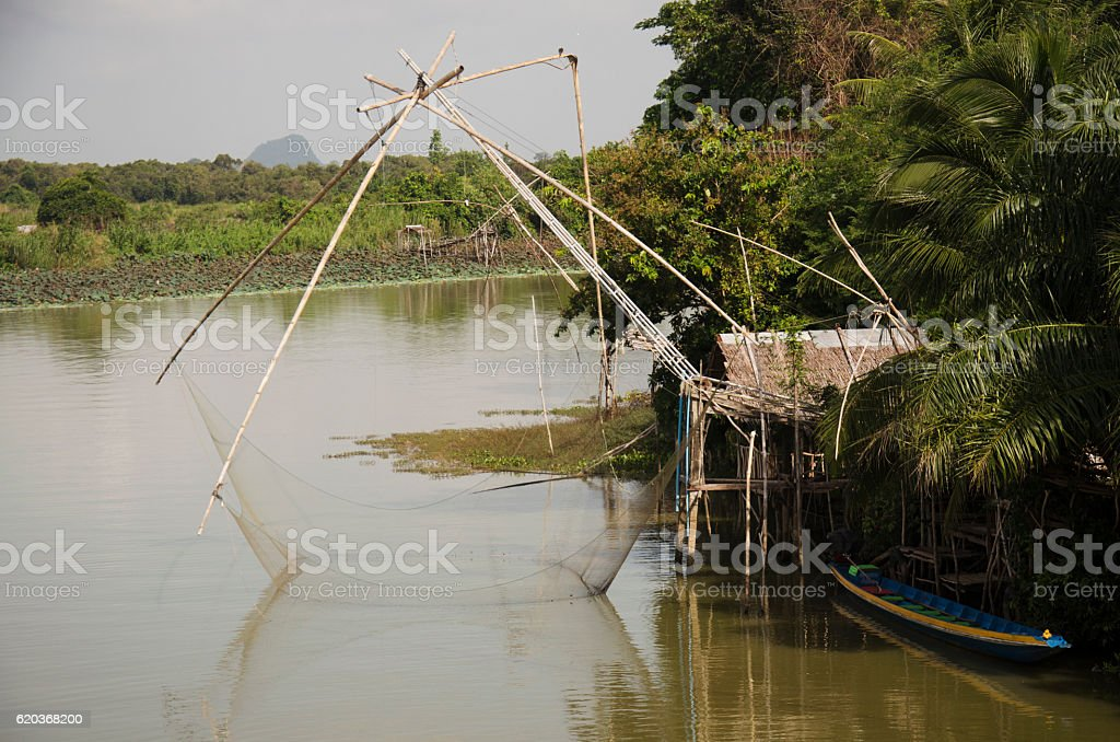 View landscape of fishing lift and dip net machine foto de stock royalty-free