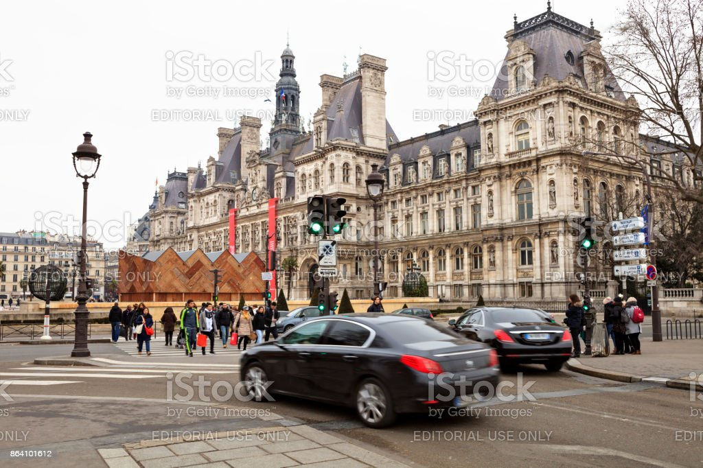 View landscape of Paris city at riverside of Seine river and Hotel de Ville royalty-free stock photo