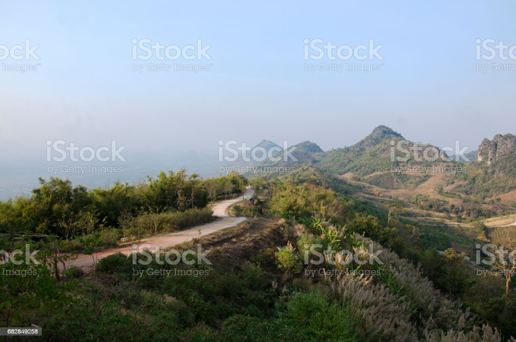 View landscape of Phu Pa Po mountain or Fuji City Loei Lizenzfreies stock-foto