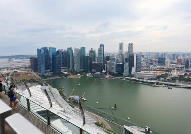 Blick vom Marina Bay Sands Hotel nach unten – Foto