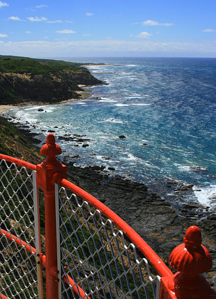 View looking east off top of Cape Otway Lighthouse stock photo