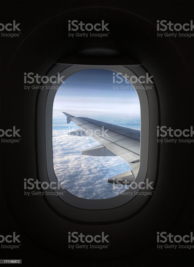 View looking through an airplane window stock photo