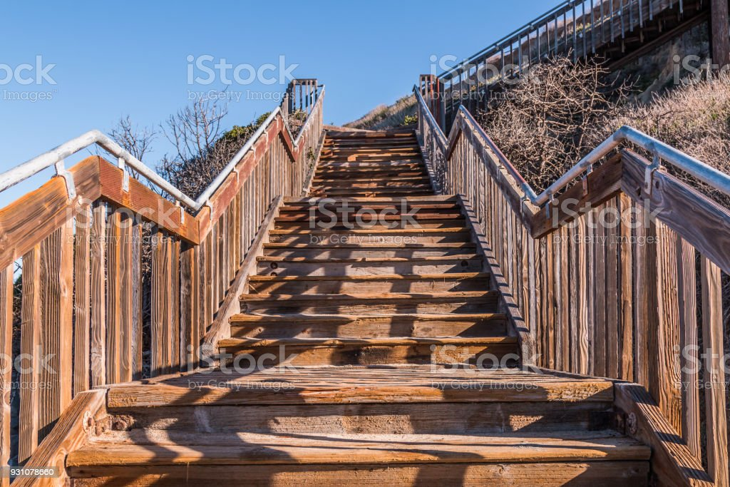 View Looking Up of Stairway at South Carlsbad State Beach stock photo