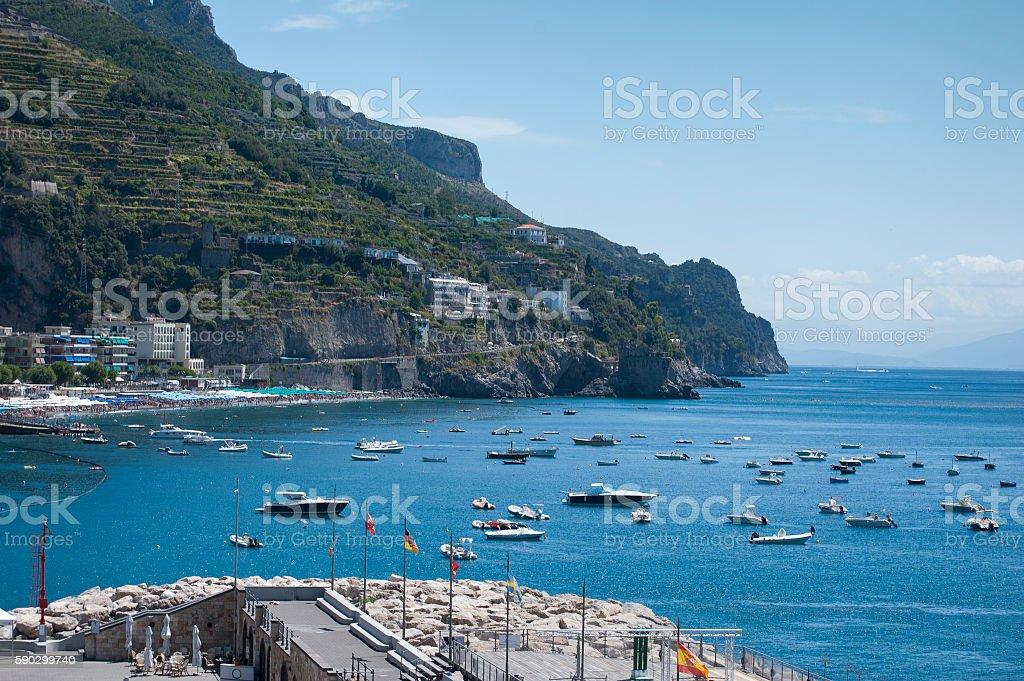 View Mariori village, from Amalfi coast, Italy royaltyfri bildbanksbilder