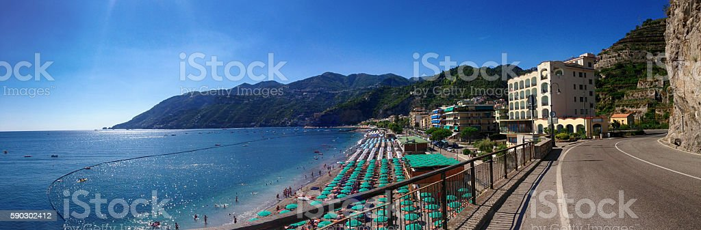 View Mariori village, from Amalfi coast, Italy royaltyfri bildbanksbilder
