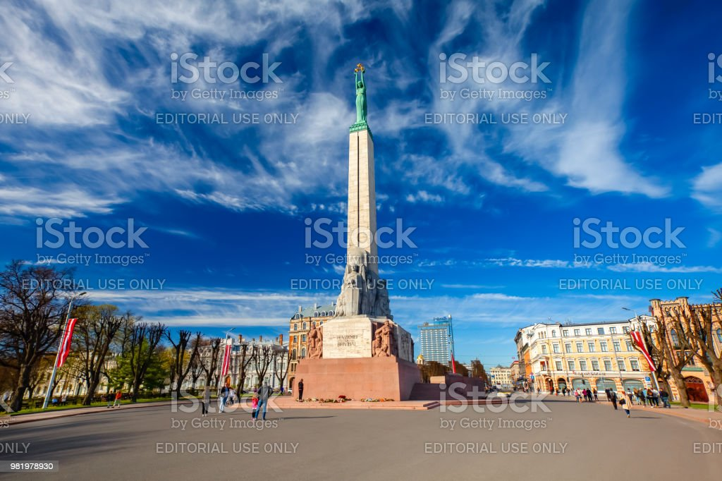 Ansicht-Denkmal für Freiheit in Riga-Hauptstadt von Lettland, am Platz der Freiheit in der Stadt von Riga gelegen. Lettland. – Foto