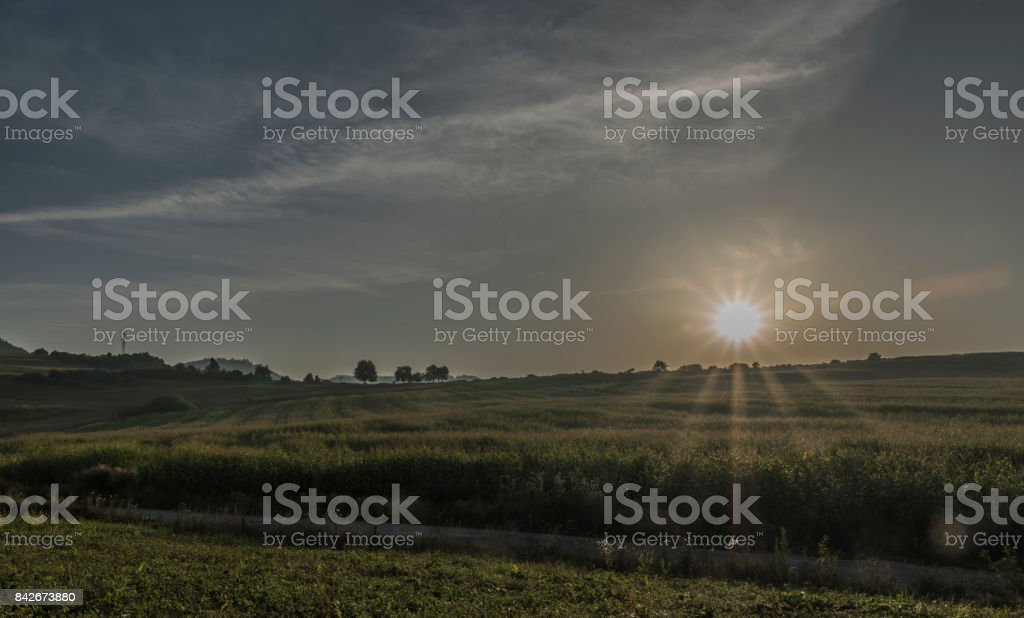 View near Ruzomberok town with big hill stock photo