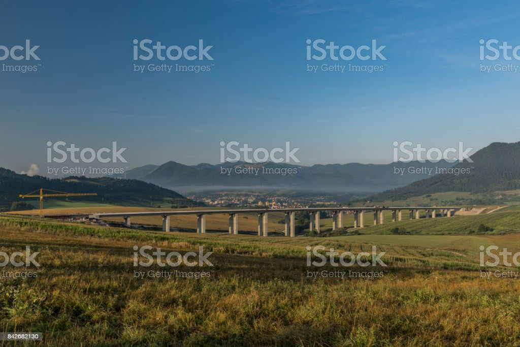 View near Ruzomberok town with highway bridge stock photo