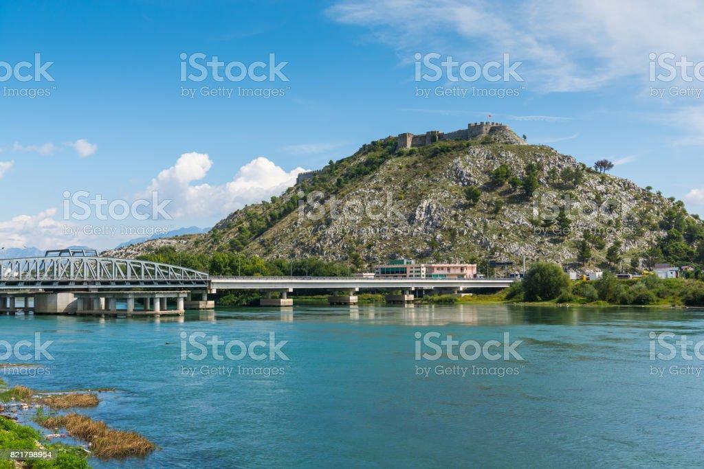 View near Shkodar city from Rozafa Castle, Albania stock photo