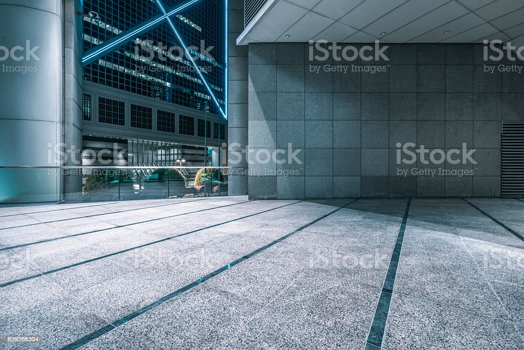 view night downtown cityscape of Hong Kong from skywalk royalty-free stock photo