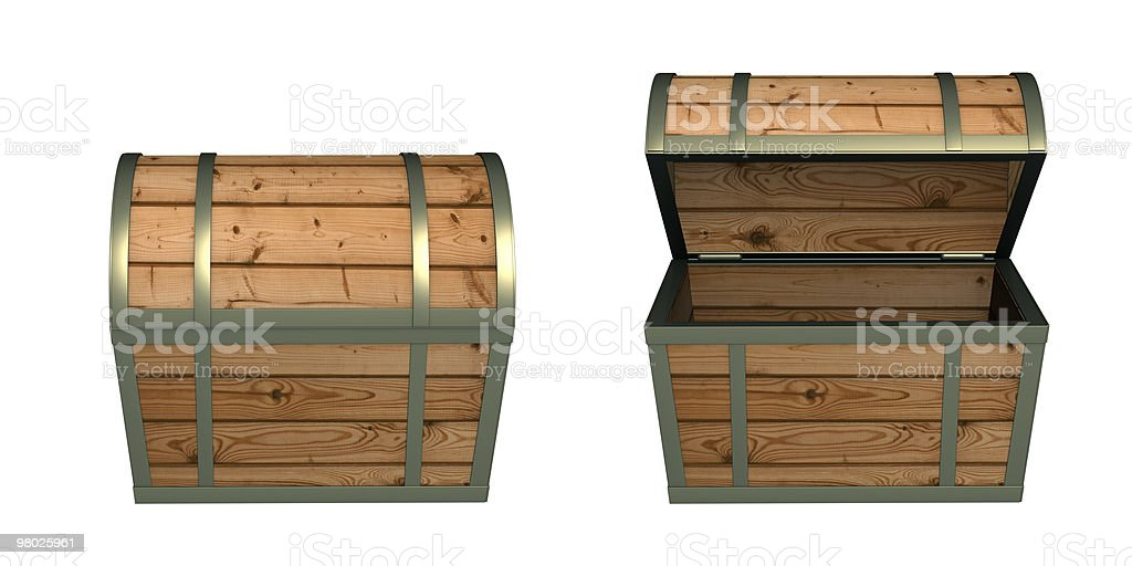 View of a 3D wooden box open and closed isolated on white royalty-free stock photo